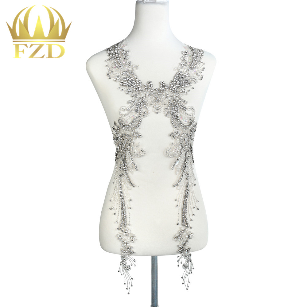 1 Piece Tasseled stone clothing Beaded Crystal Rhinestone Applique Patches with Gauze for Wedding Dress and