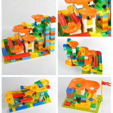 47~123pcs Marble Race Run Maze Balls Rolling Building Blocks Compatible With Legoed Duplo Kids DIY Construction Bricks