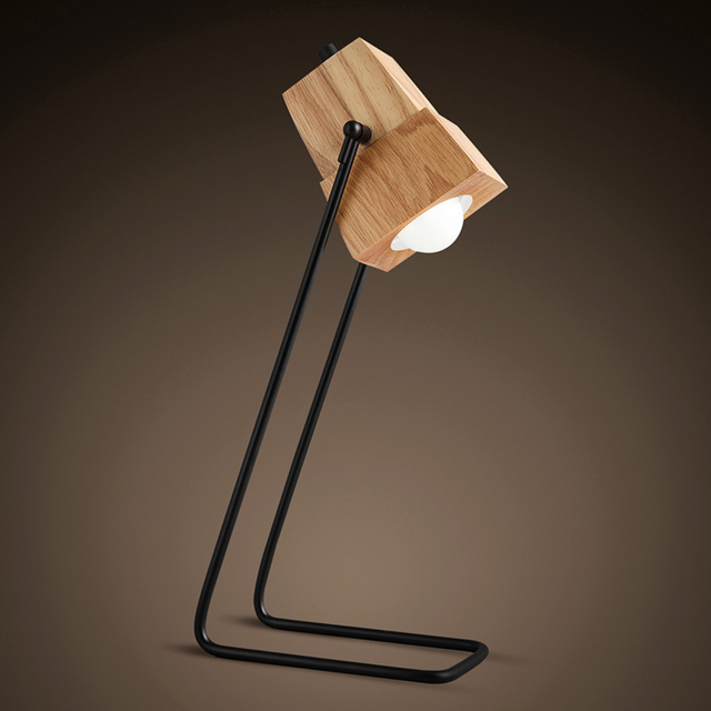 Creative DIY Assembles Wooden Desk Light Table Lamp Iron Holder With  Ventilation Holes Bar Study Decor