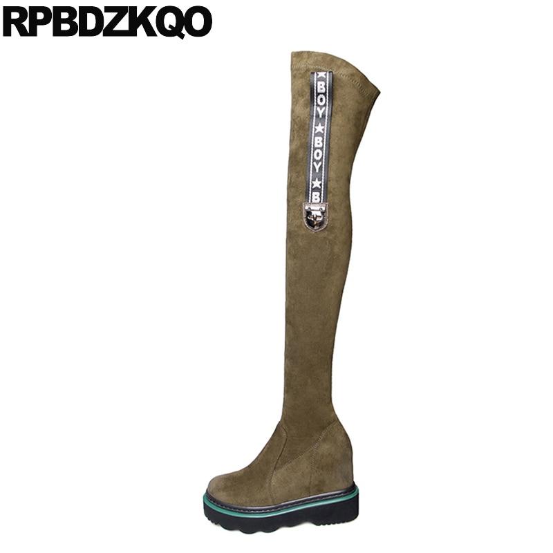 ботфорты протяжение зеленый Muffin Тонкие обувь высокие сапоги Сапоги тонкие бедра женские слипоны высокое качество на платформе длинный скр...