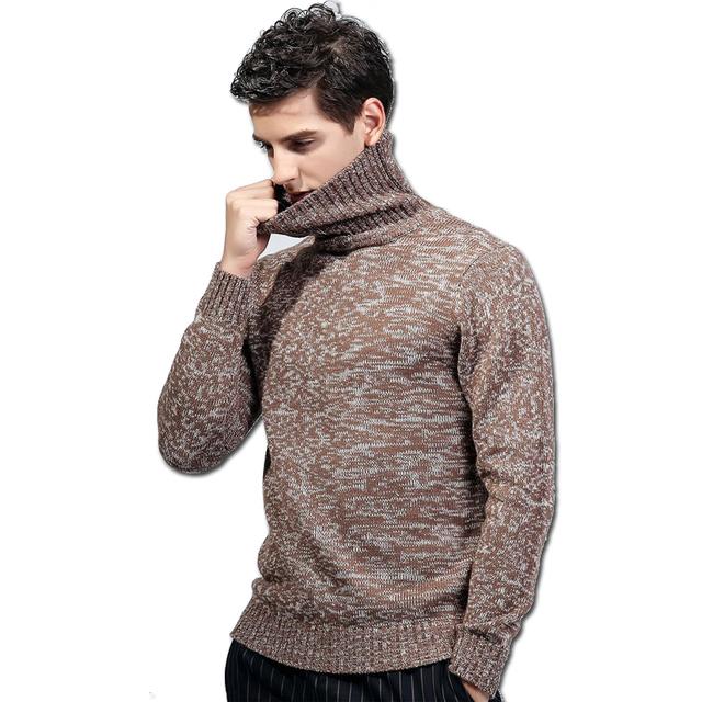 2016 Hombres de Cuello Alto Suéteres y Jerseys Hombre Otoño ropa de Hombre de Los Hombres de Moda Casual Slim Fit Manga Larga Jerseys de Punto