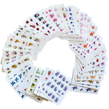 55sheets Glitter Bling Nail Stickers Nail Art Flower Water Transfer Decals Beauty Foil Wraps Manicure Decor Accessories LABJC55