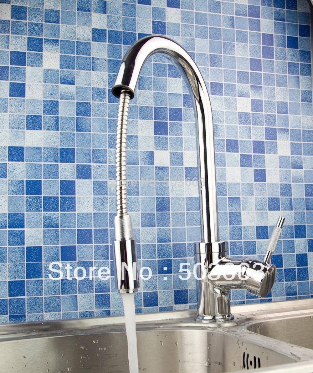 OUBONI Hot Sale Kitchen Hot & Cold Water Mixer Brass Kitchen Faucet torneira Swivel Spout Pull Out Vessel Sink Single Handle Tap chrome brass kitchen faucet spring vessel sink mixer tap hot and cold tap swivel spout single handle hole