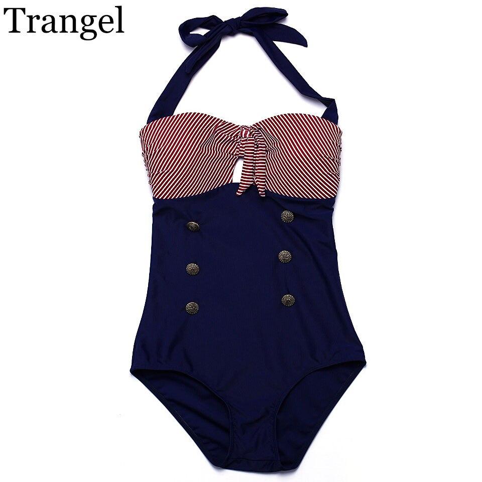 цены  Trangel new one piece swimsuit women sexy swimwear 2017 vintage striped style bikini one piece monokini bathing suit EG504