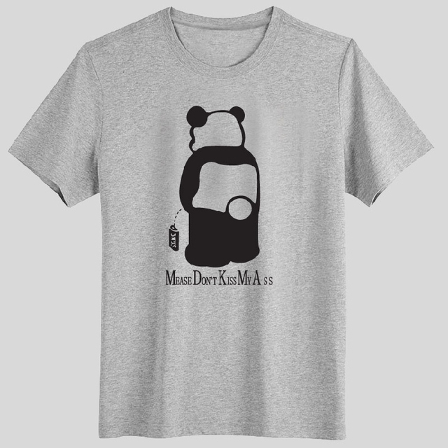 98759dfd4 plus size MEASE DON'T KISS MY ASS SPOOF Cute panda pee Individuality couple  clothes boy men sport short-sleeve T-Shirt