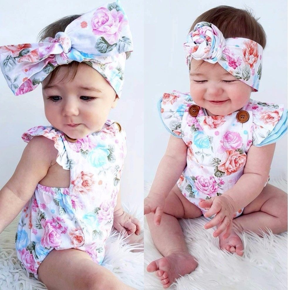 Summer Cute Baby Girls Infant Fly Sleeve Bandage Backless Bow Headband Floral Romper Jumpsuits Summer