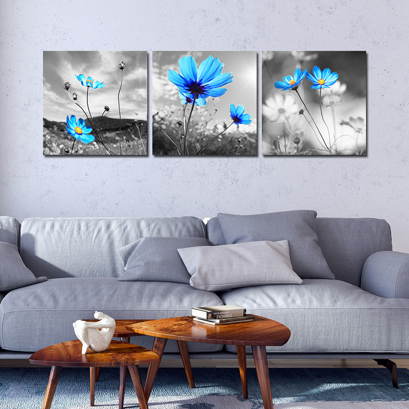 Canvas Prints Floral Paintings Blue Flowers Wall Decor 3 Panel Canvas Wall Art For Living Room Bedroom Home Decoration Canvas Wall Art Wall Artfloral Painting Aliexpress