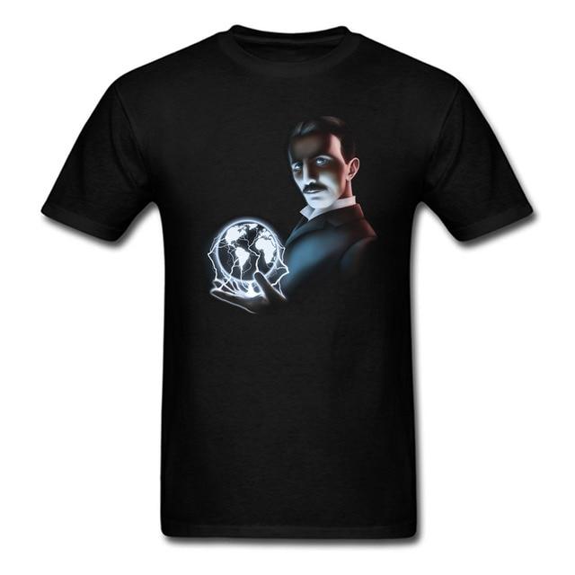 3a323202 Nikola Tesla Print T Shirt Casual Cool Scientist O Neck Short Sleeve Cotton  Men Women Shirts Harajuku Brand Clothing Punk Tee