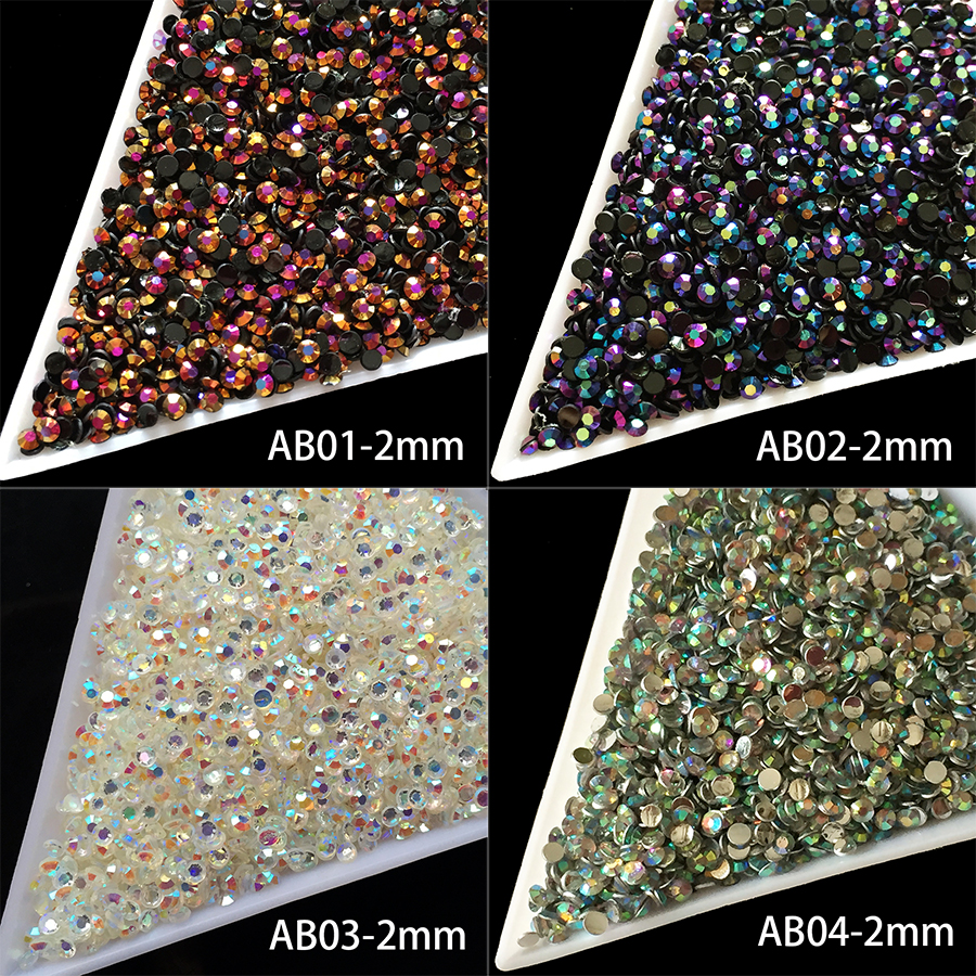 1000pcs/package DIY Nail art Jelly resin gold rose, laser green Crystal ss6 Rhinestones AB 2mm Flatback Rhinestones crystal