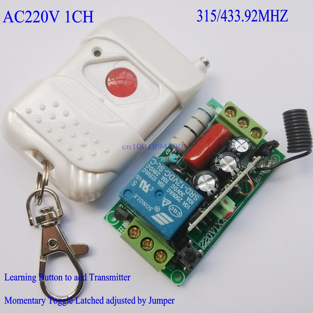 Lighting Switch Remote Control Switch 220V AC 1CH 10A Relay Receiver Transmitter Learing Code Toggle Momentary 315/433MHZ Remote