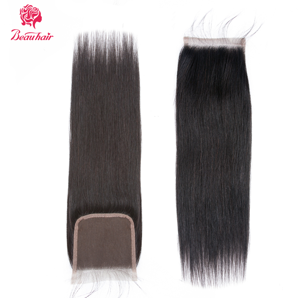 Beau 4x4 Lace Closure 100% Human Hair Closure Brazilian Hair Weaving Natural Color Non Remy Straight 8-20Inch Closure Free Part