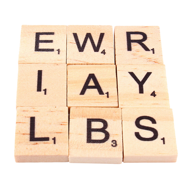 100pcs pack wood board games crafts wooden alphabet scrabble tiles