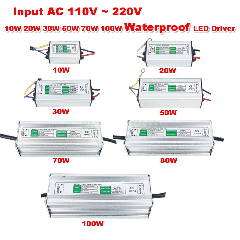 1pcs Waterproof Power Supply Input AC 110V ~ 220V 10W 20W 30W 50W 70W 80W 100W Ouput DC 27~38V LED Driver for Chip Lamp Light 1pcs lot sh b17 50w 220v to 110v 110v to 220v