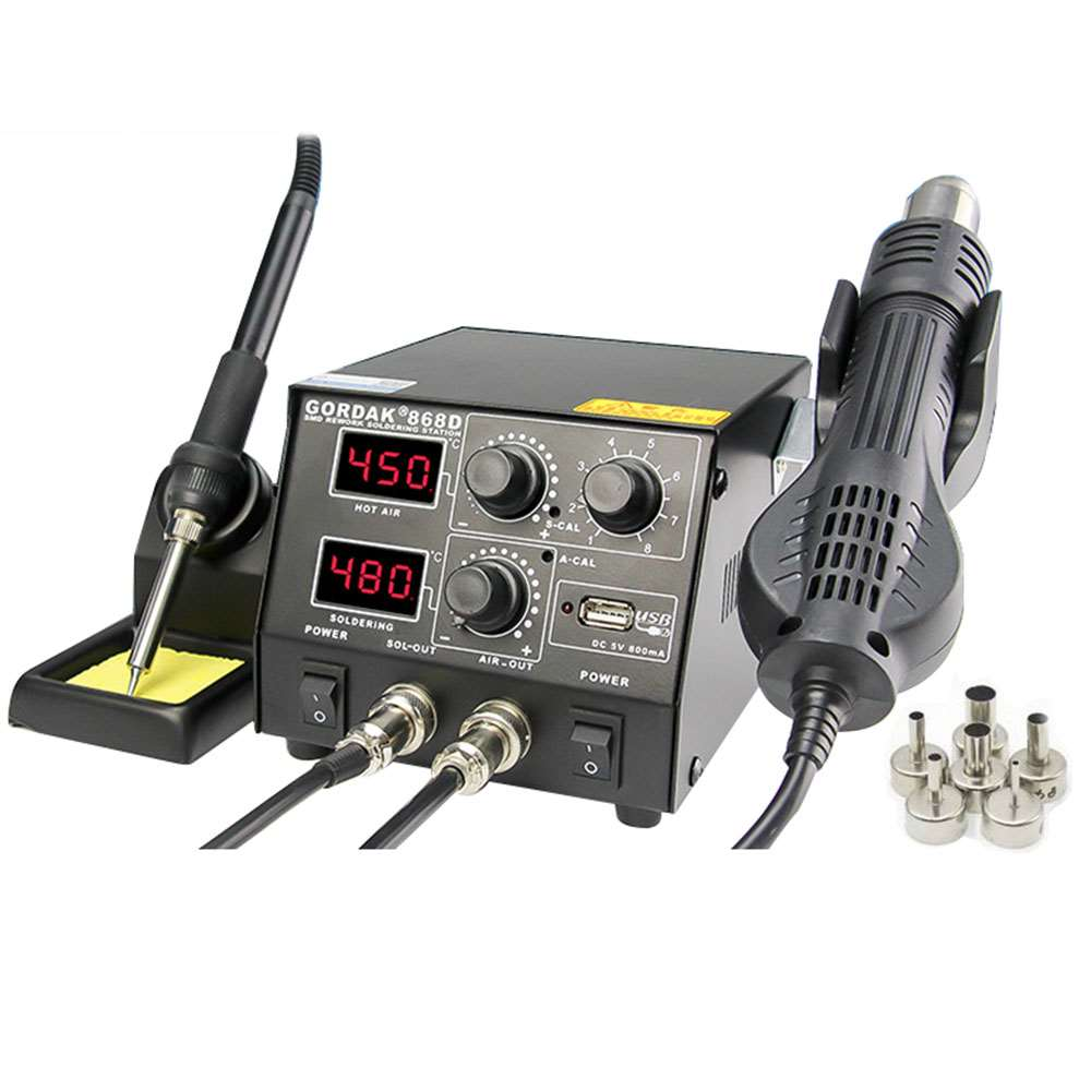 GORDAK 868D 3 in 1 Anti Static Digital Soldering Station with Automatic Cooling Function
