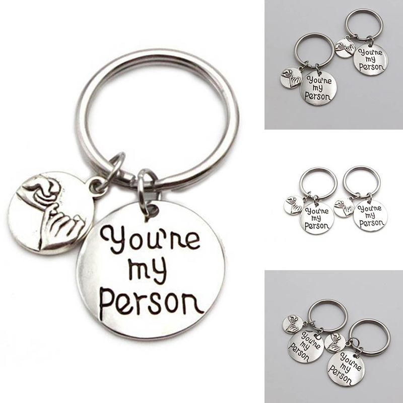 You Are My PersonPinky Promise Heart Pendant Silver Color Keychain Keyring Man Women Lovers Friendship Best Friend Jewelry