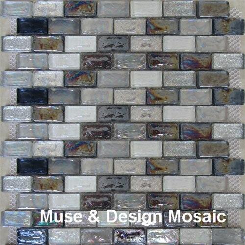 8mm Glazed Black White Glass Mosaic Tile For Shower Kithchen