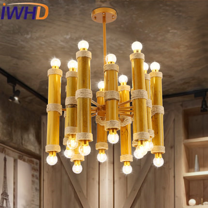 IWHD 24 Heads Bamboo Vintage Pendant Lamp LED Style Loft Industrial Hanging Lights Iron Retro Hanglamp Lamparas Home Lighting iwhd loft retro led pendant lights industrial vintage iron hanging lamp stair bar light fixture home lighting hanglamp lustre