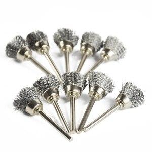 Image 4 - XCAN cepillo de rueda de pulido, 10 Uds., cepillo de alambre de vástago de 3,mm para herramientas rotativas Dremel, accesorios