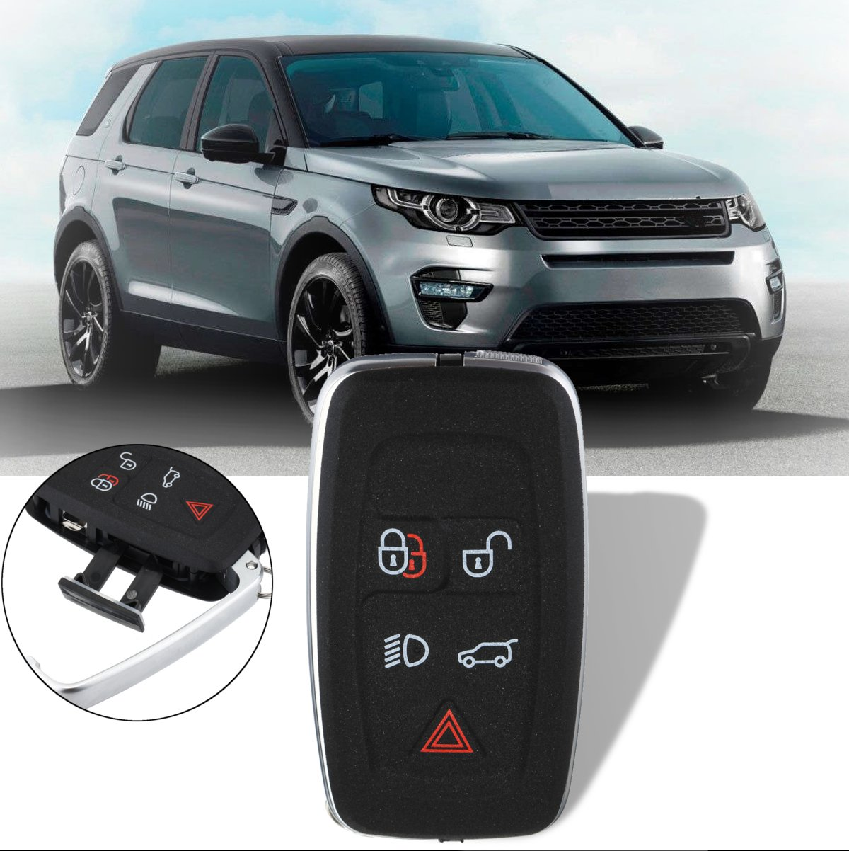 New 5 Button Lock Unlock Remote Low Beam Key Trunk Panic Fob Case Shell For Land Rover Range Rover Sport 2010 2011 2012