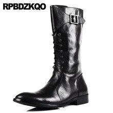 Модные ботинки до середины икры для верховой езды на молнии 2018 г. Роскошные мужские кожаные высокие сапоги обувь коренастый европейских Повседневное осень черные мотоциклетные полный зерна