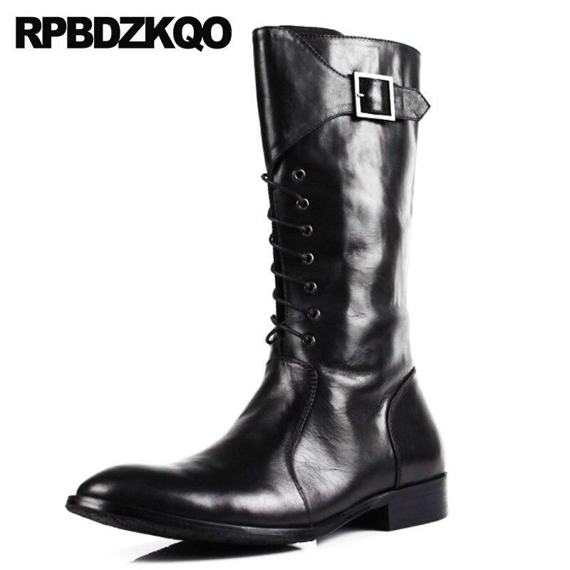 Zapatos Europea Chunky Riding Completo Calf marrón Negro Botas Moda Negro Grano Altas Cuero Lujo De 2018 Motocicleta Mens Zipper Mid Casual Otoño w7xPqtO