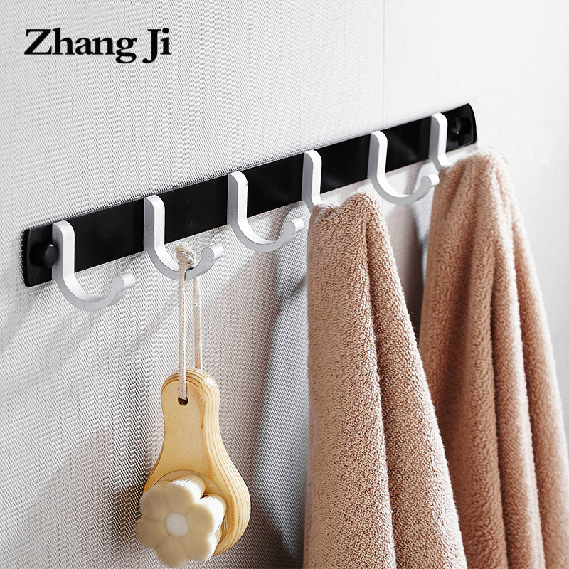 Zhangji Bathroom Shelves Robe Hooks Aluminum Accesorios for Towels Coat Hanger Soild with Screw