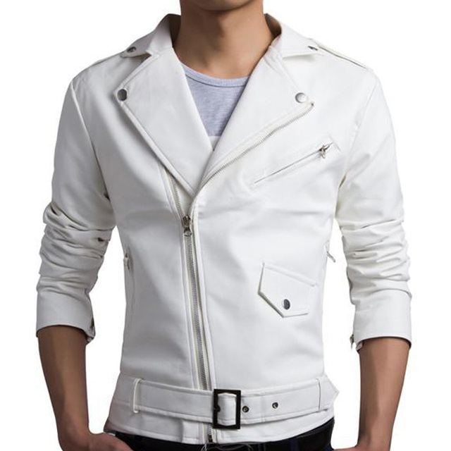 New White Pu Leather Jacket Men 2015 Design Motorcycle Biker Jacket Mens Stylish Bomber Jacket Veste Cuir Homme Jaqueta Couro