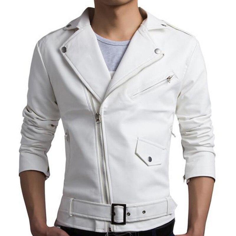 New White Pu Leather Jacket Men 2017 Design Motorcycle Biker Jacket Mens Stylish Bomber Jacket Veste Cuir Homme Jaqueta Couro