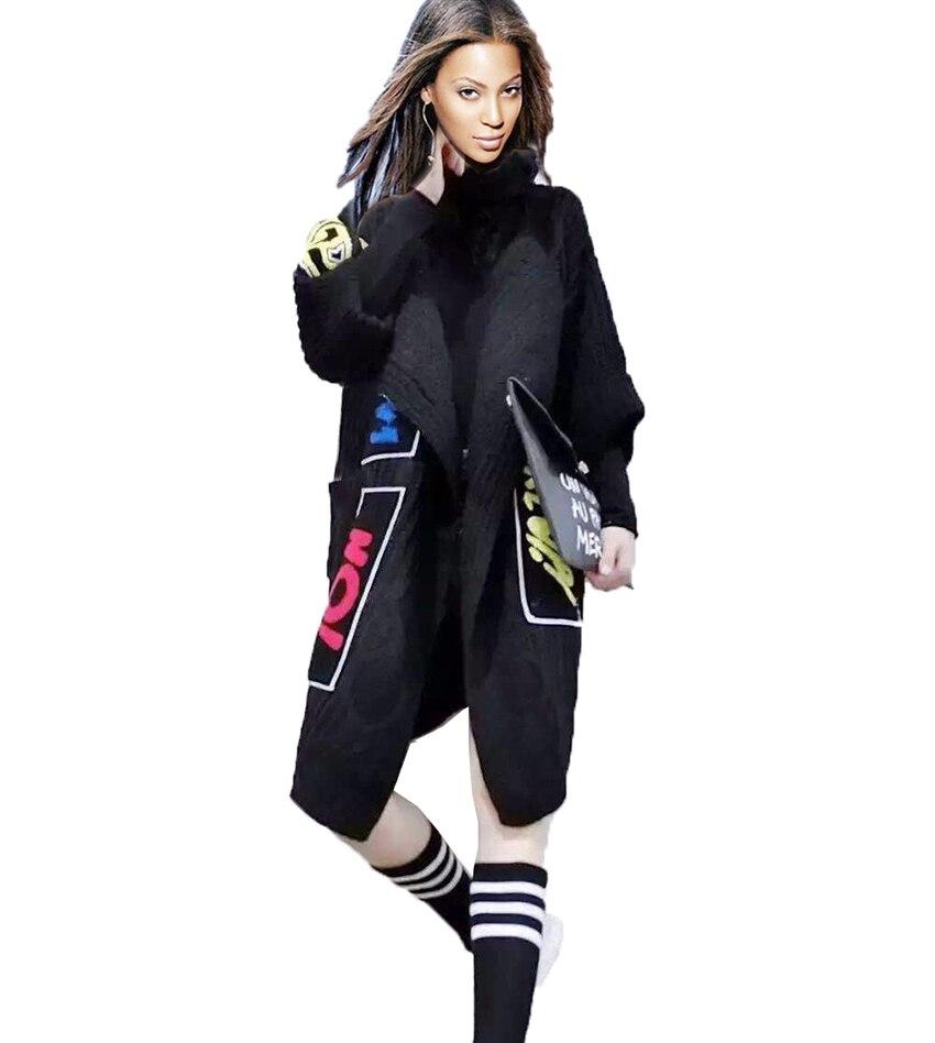 Women long Black cardigan Knit cardigan sweater coat 2016 Spring ...