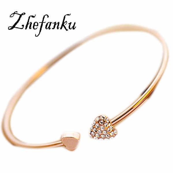 חדש מכירה לוהטת 2017 נשים תכשיטים אופנתיים זוגי אפרסק לב אהבת זהב צבע קריסטל פתיחת צמיד מתנה Drop חינם