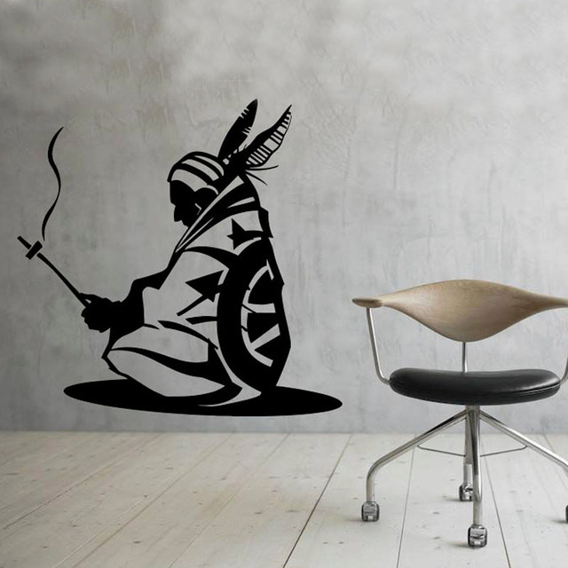 Indian Iroquois Art Wall Stickers Vinyl Wall Decal Native American - Vinyl wall decal adhesive