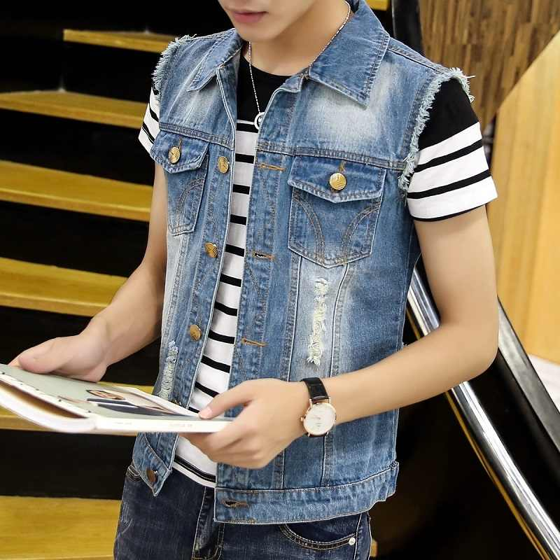2019 Cotton Light blue Jean Jacket Men's Denim Vest Hip Hop Jean Coats Waistcoat Men Cowboy Brand Sleeveless Jacket Male Tank