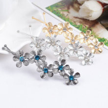 Fashion 1pc Five Flowers Shaped Rhinestones Alloy Hair Clip Cute Graceful Women Girls Accessories