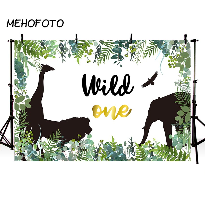 Wild One Backdrop for Photography Jungle Safari Tropical Leaves Birthday Party Decoration Photo Background for Photographic