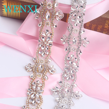 WENXI (5 YARDS) Wholesale  Crystal Rhinestone Trim With Pearls Beaded Rhinestone Bridal Applique For Wedding Gown Or Sash