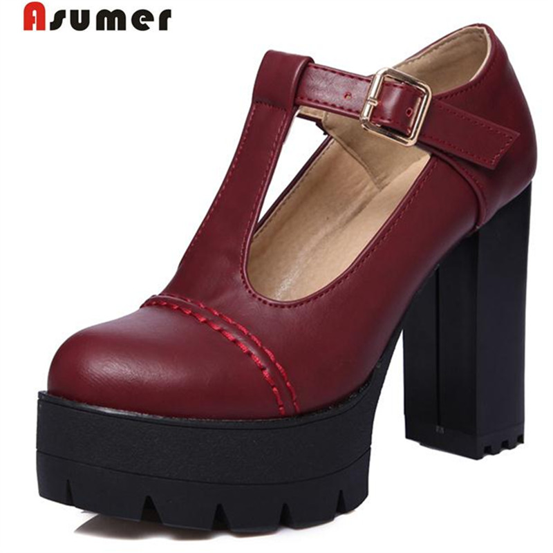 Asumer College style high heels shoes buckle round toe big size 34-43 platform shoes party fashion restoring women pumps solidAsumer College style high heels shoes buckle round toe big size 34-43 platform shoes party fashion restoring women pumps solid