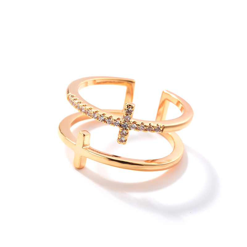 YANDA Popular Double Cross Finger Rings For Women Fashion Vintage Wedding Party Opening Statement Ring Charms Jewelry Gifts