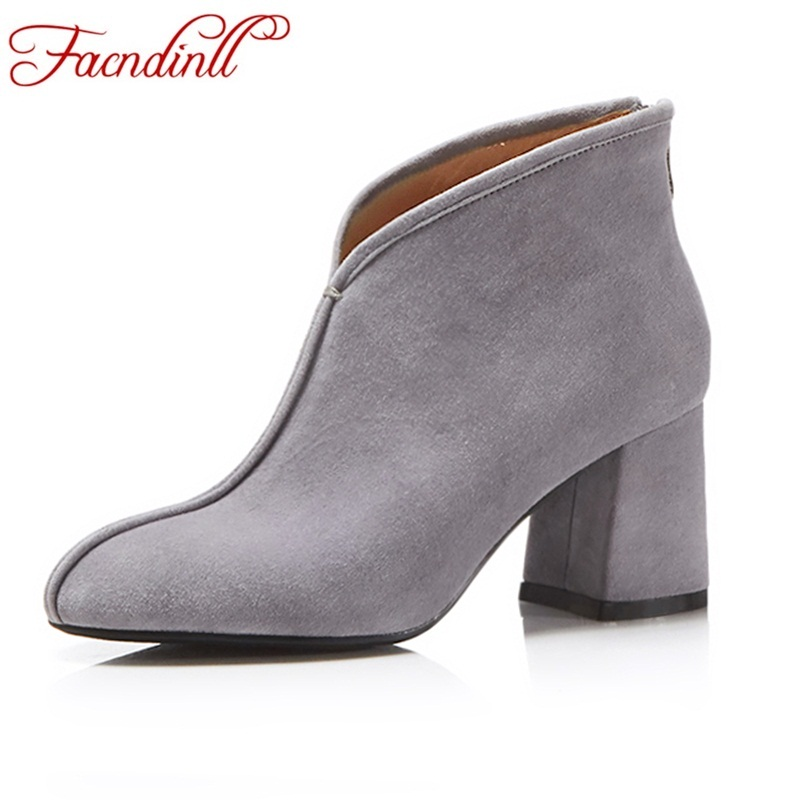 FACNDINLL 2018 new fashion genuine leather women ankle boots shoes high heels round toe platform woman dress party riding boots