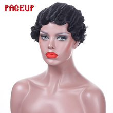 купить Honey Blonde Short Finger Wave Wig For Black Women Purple Heat Resistant Wig Synthetic Red Pink Afro Hair Pixie Cut Wig Cosplay дешево