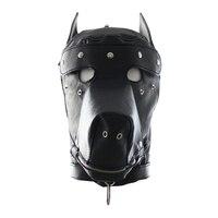 Pu Hond slave hoofd Kap kappen Hoofd bondage volledig afgesloten fun hoofddeksels maskers sex game voor koppels sex product open mond
