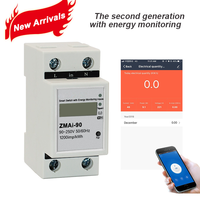 Tuya APP monophasé rail Din WIFI compteur d'énergie intelligente consommation électricité kWh Mètre wattmètre 220 V, 110 V AC 50Hz/60 hz