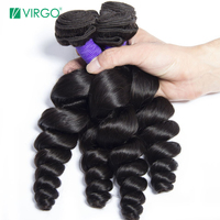 Peruvian Loose Wave Human Hair 4 Bundles Deals Remy Hair Weave Bundles Natural Color 1b Can be Dyed Virgo Hair