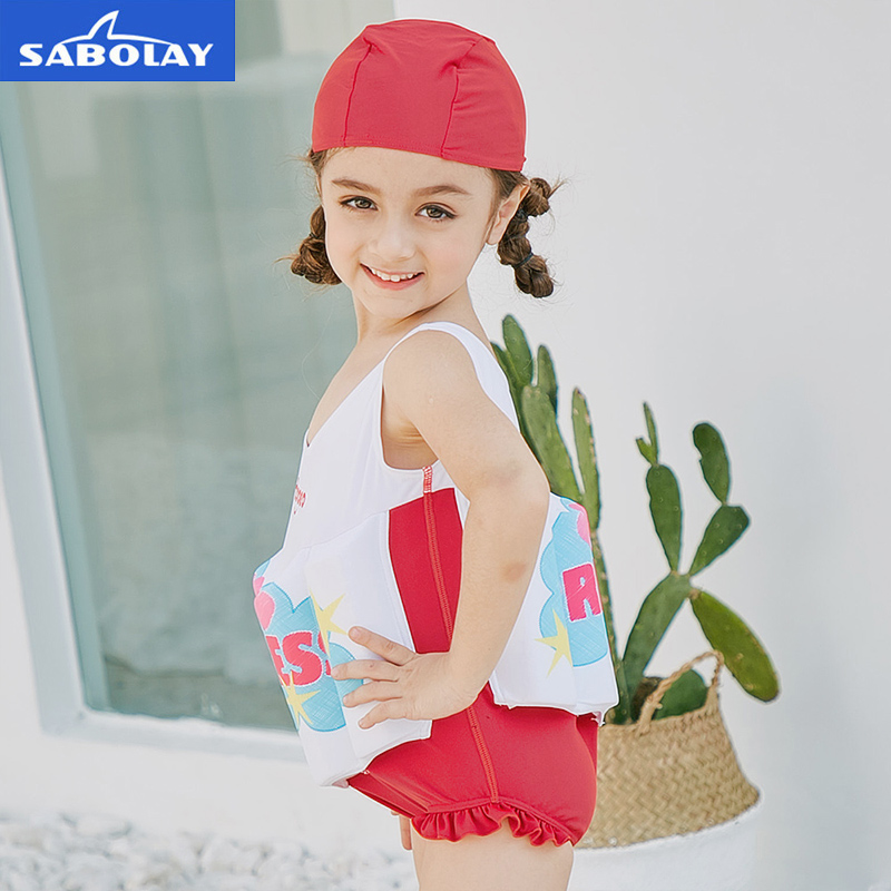 SABOLAY 2018 Girls Buoyant Swimming Suits with Hat Children One-piece Swimwear Baby Life Saving Conjoined Vest Floating Swimsuit
