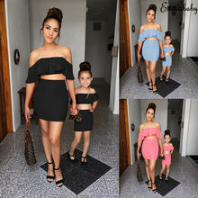Family Matching Mother Daughter Outfits Women Kids Girl Soli