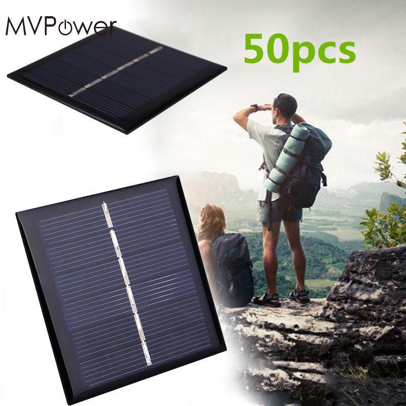 MVPower 50pcs Solar Cells 0.42W 3V Polysilicon Solar Panel Portable DIY Sunpower Solar Power Cell outdoor camping