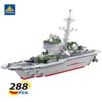 KAZI 228 pz Nave Militare Modello Building Blocks Bambini Giocattoli Imitazione Gun Arma Attrezzature Technic Progettista giocattoli per il capretto