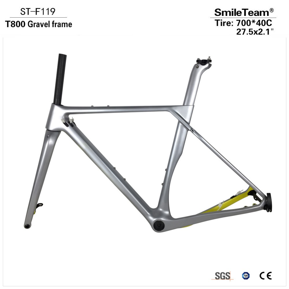 2018 Full Carbon Gravel Frame, Gravel Carbon Bike Frame, Cyclocross Disc Frame With QR or Thru Axle 142mm with Brake Adapter frame