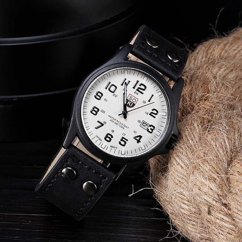 Relogio masculino שעונים גברים בציר קלאסי עמיד למים זכר עור רצועת ספורט קוורץ צבא שעוני יד שעון יוקרה reloj Saat