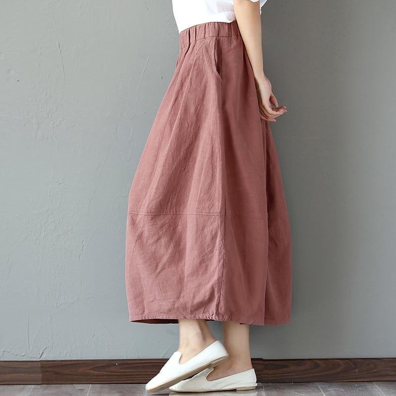 Spring 2019 New Retro Literary Cotton-linen Skirt Model Half-length Skirt Flax Big-pendulum A-shaped Bud Lantern Skirt
