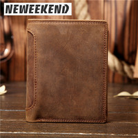 NEWEEKEND Genuine Leather Oil Cowhide Vertical Lichee Pattern Short Thick Cash Card Coin Wallet Purse Pocket Holder for Man 566